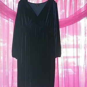 Beautiful dark teal velvety dress